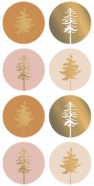 Stickers kerstbomen roze en goud