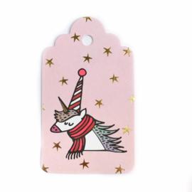 Kado labels | Unicorn, eenhoorn roze