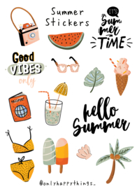 Stickers zomer thema, ijsjes, teksten, strand