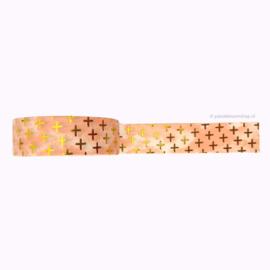 Washi tape roze met gouden kruisjes
