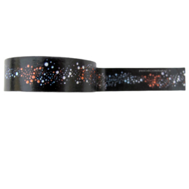 Washi tape stippen bubbels zwart/ oranje