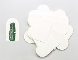 Blanco label tag wit met ronde bovenkant (5 stuks)