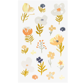 Bloemen stickers oranje, blauw en goudfolie groot