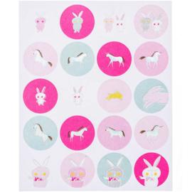 Stickers unicorn en konijntjes roze