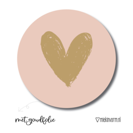 Sluitsticker hartje, roze en goud