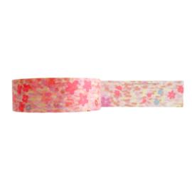 Washi tape neon roze bloemen