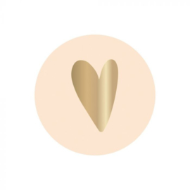 Sluitsticker rond hartje beige goud