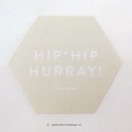 Sluitsticker Hip Hip hurray Hexagon