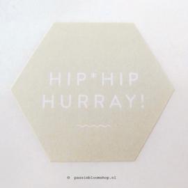 Sluitsticker Hip Hip hurray Hexagon