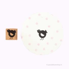 Stempel hout kuikentje/ vogeltje