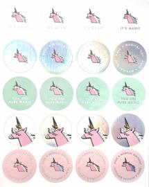 Stickers unicorn pastel met teksten