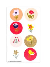 Ronde stickers neon roze bloemen