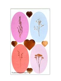Wilde plukbloemen stickers roze