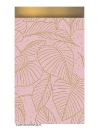 Cadeauzakje botanische bladeren roze 12x19 cm