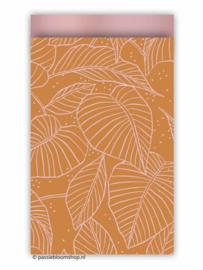 Cadeauzakje botanische bladeren terracotta 12x19 cm