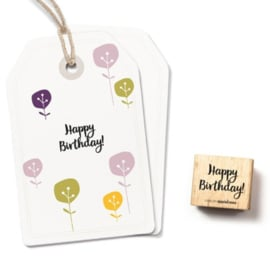 Tekst stempel vierkant happy birthday