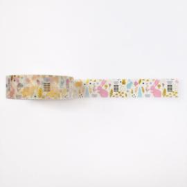 Washi tape | Pastel konijntjes goudfolie
