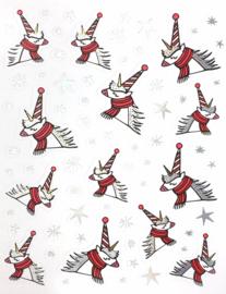 Stickers winter/ kerst unicorn