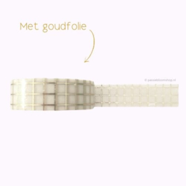 Washi tape wit met gouden ruitjes / grid patroon