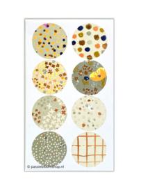 Ronde stickers patronen groen en goudfolie