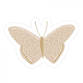 Sticker oudroze vlinder met goudfolie (5stuks)