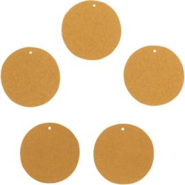 Ronde labels kraft bruin (5stuks)