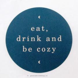 Sluitstickers rond Be cozy Blauw