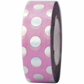 Washi tape roze met iriserende stippen
