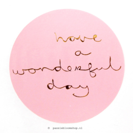 Sluitstickers rond Wonderful day Roze
