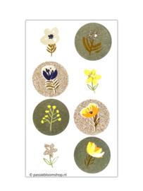 Bloemen stickers rond groen en glitter