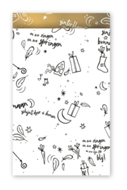 Cadeauzakjes Sinterklaas liedjes wit met zwart 12x19