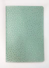 Schriftje mint, gouden confetti | Ruitjes papier