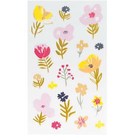 Bloemen stickers roze, oranje en goudfolie groot