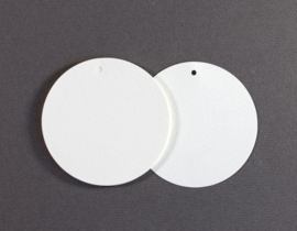 Gift tag blanco rond wit groot | 5 stuks