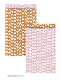 MIX Cadeauzakjes hartjes roze/ terracotta (10 stuks)