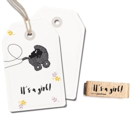 Tekst stempel hout | It's a girl