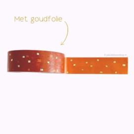 Washi tape okergeel gouden streepjes