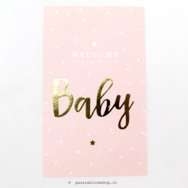 Sluitsticker Welcome baby Roze