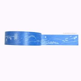 Washi tape pluk bloemen blauw