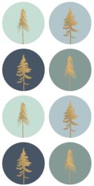 Stickers kerstbomen blauw en goud