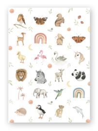 Stickervel dieren aquarel rond (24 stuks)