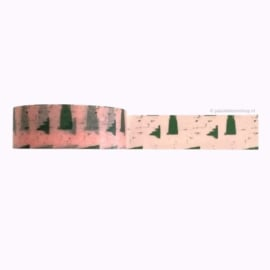 Washi tape print roze en groen