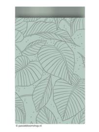 Cadeauzakje botanische bladeren mint groen 12x19 cm