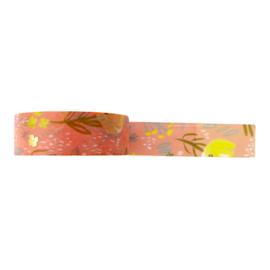 Washi tape roze takjes en bloemen