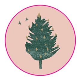 Sluitstickers kerstboom roze/ goud