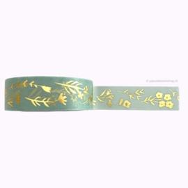 Washi tape mint gouden bloemen