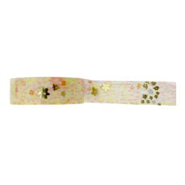 Washi tape bloemen print  goud