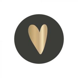 Sluitsticker rond hartje zwart goud