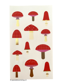 Stickers klein paddestoelen rood