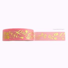Washi tape roze gouden bloemen
